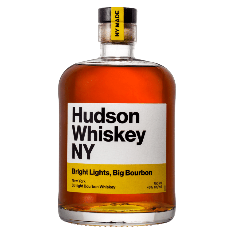 Hudson Whiskey NY Bright Lights, Big Bourbon 750mL Front Label